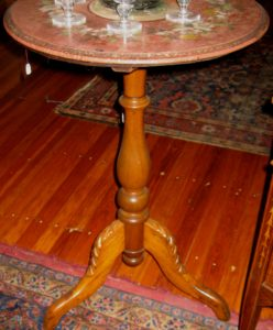 19th Century Walnut Table w/Hand-painted Stone