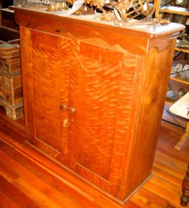 19th Century Maple/Curly Maple Cabinet w/Later Added Trim