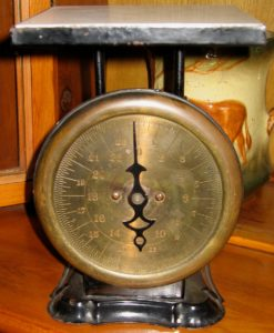 English brass-face kitchen scales