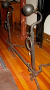 Large Forged Iron Andirons