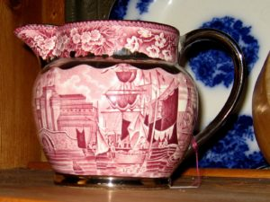 Silver-trimmed Transfer Ware Pitcher _ SOLD