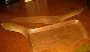 Roycroft (signed) Hammered Copped Crumber Set