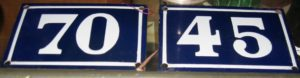 Pair of French Enamel House Number Signs