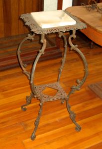 19th Century Brass Stand w/ Marble Inset