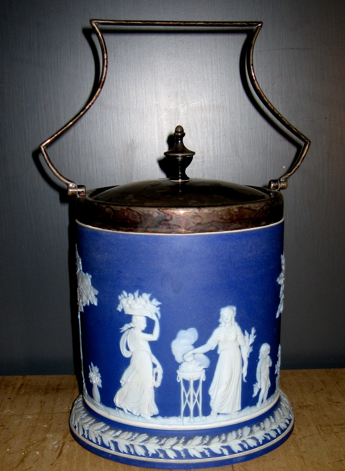 English Blue Biscuit Jar (Unsigned)