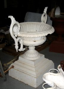 One of a Pair of Very Large 19th Century Cast Iron Urn Planters