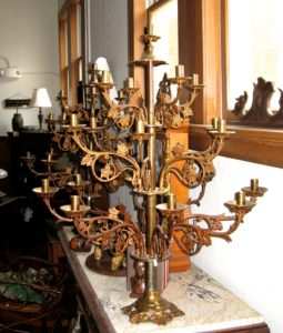 One of a Pair of Very Large Brass Altar Candelabrum